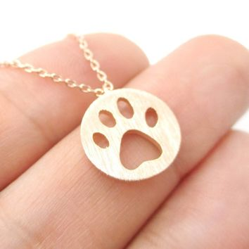 Round Puppy Paw Print Cut Out Shaped Pendant Necklace in Rose Gold | Animal Jewelry