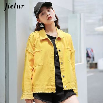 Trendy Jielur 5 Colors Korean Autumn Denim Jacket for Women Solid Color Hipster Pockets Female Jacket Streetwear BF Jean Coat Dropship AT_94_13