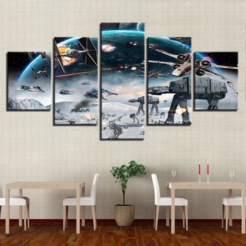 Canvas Pictures Framework Home Decor HD Prints Paintings 5 Pieces Millennium Falcon X-Wing Star Wars Poster Living Room Wall Art