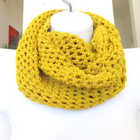 Crochet infinity scarf, long fashion cowl, unisex neck warmer in mustard yellow