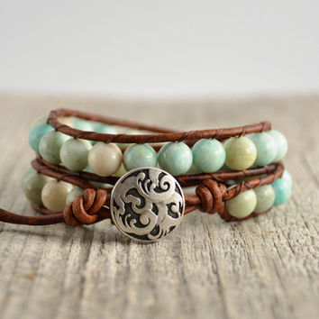 Mint green double wrap bracelet. Chunky beaded amazonite leather bracelet