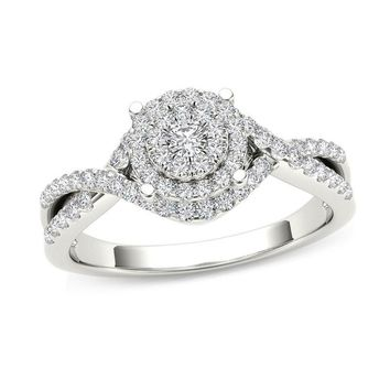 1/2 CT. T.W. COMPOSITE DIAMOND FRAME CROSSOVER ENGAGEMENT RING IN 14K WHITE GOLD