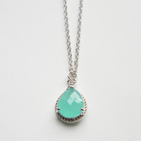 Aqua/Mint Faceted Glass Stone Pendant on 24 inch Matte Silver Chain Necklace