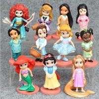 Princess Toys 11pcs 8cm Moana Snow White Merida Action Figures Mulan Mermaid Tiana Jasmine Dolls Kids Toys For Children