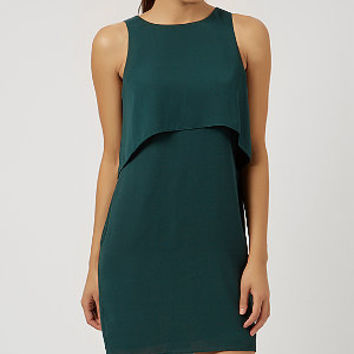 Dark Green Double Tier Shift Dress