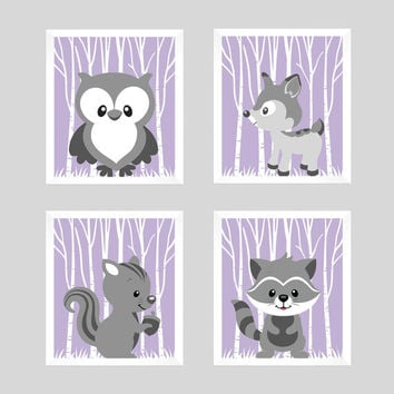 Woodland Animals Gray Forest Animals on Lavender CUSTOMIZE COLORS, 8x10 Prints, set of 4, Nursery Decor Print Art Baby Room Baby Girl