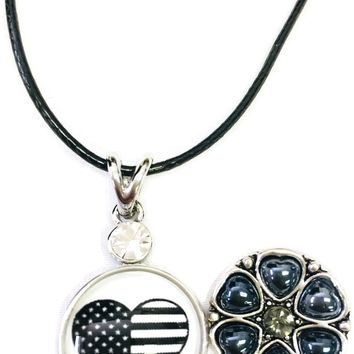 "USA Flag Heart Officer Thin Blue Line Snap on 18"" Leather Rope Diamond Pendant Necklace W/ Extra 18MM - 20MM Snap Charm"