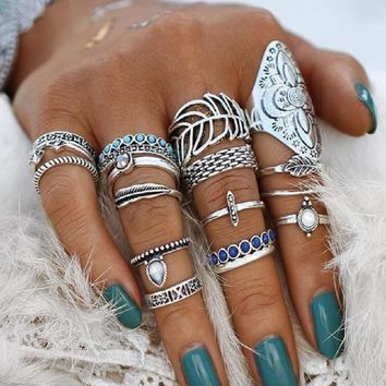Silver Tone 18 Piece Midi Ring Set in Three Style Choices