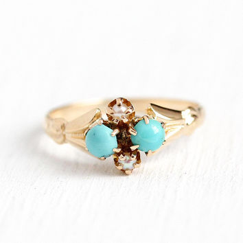 Antique Turquoise Ring - 10k Rosy Yellow Gold Victorian Late 1800s Size 5 1/2 - Flower Cluster Pearl Blue Gemstone Cabochon Fine Jewelry