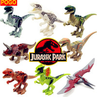 POGO 8pcs 77001 Jurassic World Park Dinosaur Bricks Figures Building Blocks Super Heroes baby toys