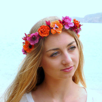 Flower Crown,  orange, fuchsia, pink Woodland Halo, Floral Crown, Bohemian headpiece, Boho flower,  Girls flower crown,  Wedding Hair Piece,