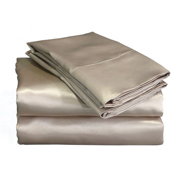 King size 4-Piece Satin Sheet Set in Mocha