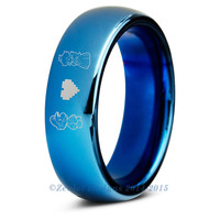 Super Mario Bros Inspired Blue Tungsten Wedding Band Ring Mens Womens
