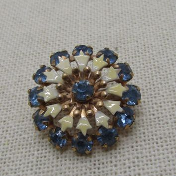 "Vintage Enameled Rhinestone Blossom Brooch, 1950's-1960's, 1"", Gold Tone"