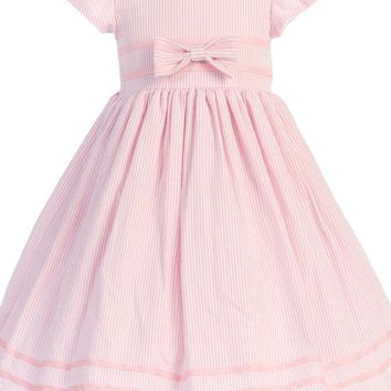 Pink Cotton Seersucker Spring Easter Dress w Ribbon Trim (Baby 3 Months - Girls Size 7)
