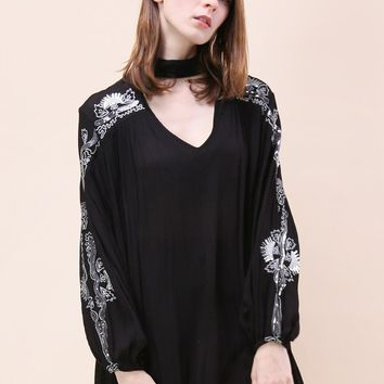 Boho Sparkle Embroidered Tunic in Black