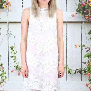 Lace Embroidery on Mesh Tank Dress {Off White}