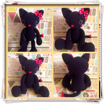 Amigurumi Cat Amigurumi Black Cat Crochet Cat Stuffed Animal Stuffed Toy Cat Kids Toy Kawaii Black Cat Plush Gift Ideas