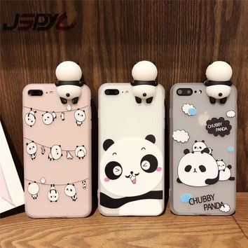 JSPYL Kawaii 3D Cartoon Panda Tranparent Soft TPU Phone Case Cover For iPhone 7 8 Plus 6 6S Plus Rubber Shell For iPhone X Case