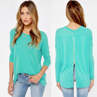 Turquoise Zip-Back Jumper