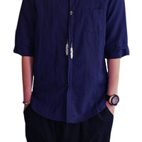 Plain Half-Sleeves Button Shirt