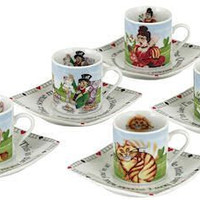 Alice in Wonderland 3oz Demi Tea Cups Set of 5