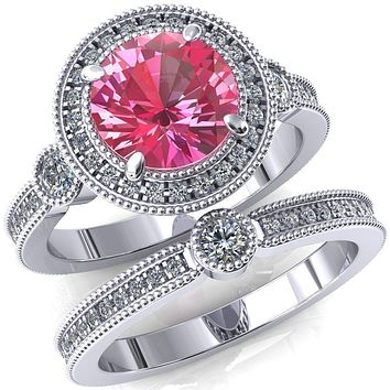 Brachium Round Lab-Created Pink Sapphire Milgrain Halo 3/4 Eternity Accent Diamond Ring