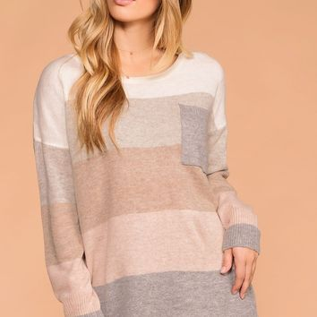Karina Taupe Color Block Pocket Sweater Top