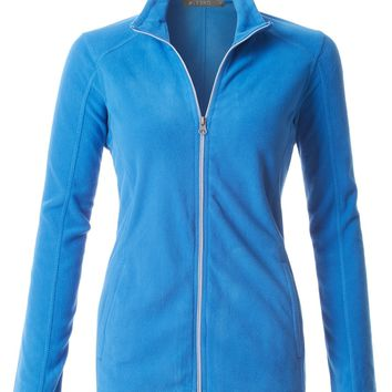 LE3NO PREMIUM Womens Active Long Sleeve High Neck Zip Up Micro Fleece Jacket
