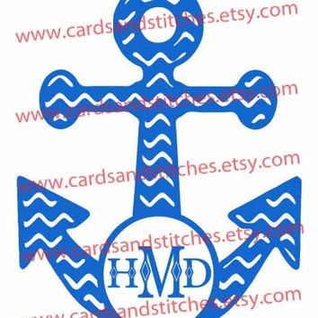 Chevron Anchor Monogram Frame Digital Cutting File (SVG, DXF, JPG)