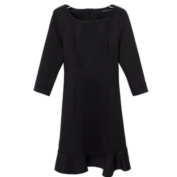 Black Half Sleeve Ruffled Bottom Shift Mini Dress