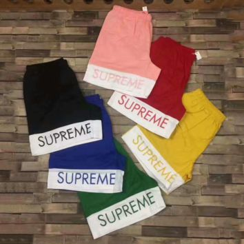SUPREME Split Logo Water SPlicing Print Casual Contracted Shorts 6 Color G-A-XYCL