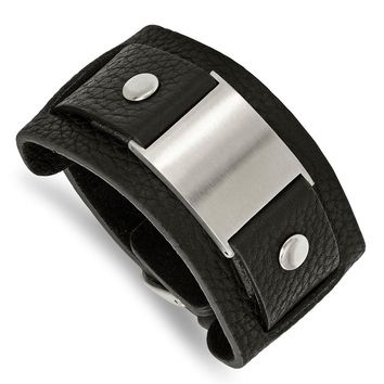 Stainless Steel Black Leather W/ Buckle Clasp Bracelet - 45mm Buckles