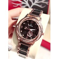 OMEGA tide brand female personality personality quartz watch Black