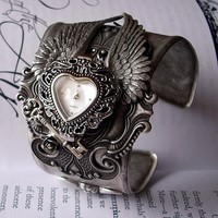 Gothic Cuff Watch - Love Gives You Wings with Silver Cupid and Heart