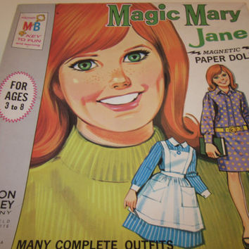 1960 Paper Doll Set Magic Mary Jane Milton Bradley with Original Box Great Game for Kids