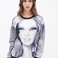 FOREVER 21 Barbie Graphic Sweatshirt Grey/Black