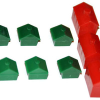 Monopoly Houses. Monopoly Hotels. Monopoly Game Pieces. Jewelry Supply. Vintage Monopoly Game Parts. Over 80 Pieces.