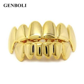 ac DCCKO2Q GENBOLI Gold Silver Colors Hip Hop Teeth Grillz Caps Top & Bottom Bling Teeth Silicone Set for  Vampire Party Gifts Body Jewelry