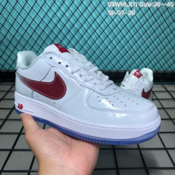 DCCK2 N174 Nike Air Force 1 Low Retro White Leather Gradient Wine Red Hook Causal Skate Shoes