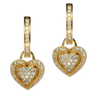 18K Yellow Gold Diamond Puffed Heart Earring Charms