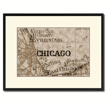 Chicago Illinois Vintage Sepia Map Canvas Print, Picture Frame Gifts Home Decor Wall Art Decoration