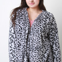 Leopard Faux Fur Open Front Jacket