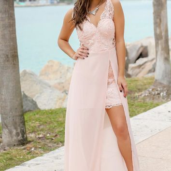 Blush Embroidered Maxi Dress with Side Slit