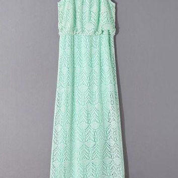 Green Cut Out Lace Spaghetti Strap Dress
