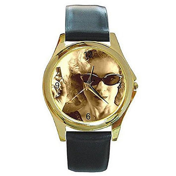 "Dr Who "" River "" (in Sepia Tones) on a Womens Gold Tone Watch with Leather Band"
