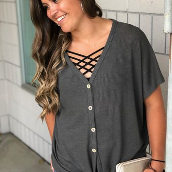 Charcoal Button Waffle Knit Top