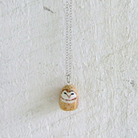 Hand Painted Barn Owl Totem Necklace