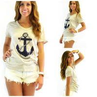 Tow The Line Taupe Anchor T-Shirt