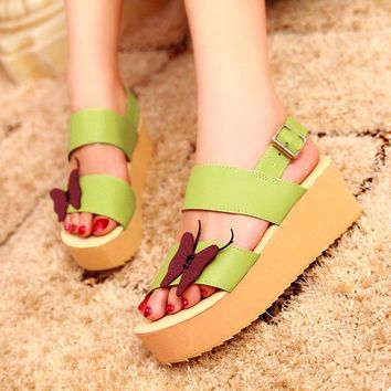 B| Chicloth Butterfly Daily Buckle Peep Toe Platform Wedge Sandals